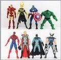 Los Vengadores figuras juguetes muñeca 13-15 cm 8 unids/lote Hawk Eye Batman hulk Capitán América Wolverine Thor Loki Figura de Acción de Juguete