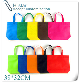 38 32cm 20pcs lot Solid green non woven cloth shopping bag recycled fabric non woven bag