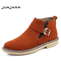 JUNJARM Chelsea Boots Men Cow Suede Zipper Autumn Winter Fashion Ankle Boots Gentlemen Real Leather Mens