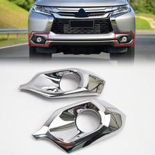 Хром Внешний передних противотуманных фар Крышка лампы отделкой 2 шт. для Mitsubishi Pajero Montero Sport 2016 2017 2018
