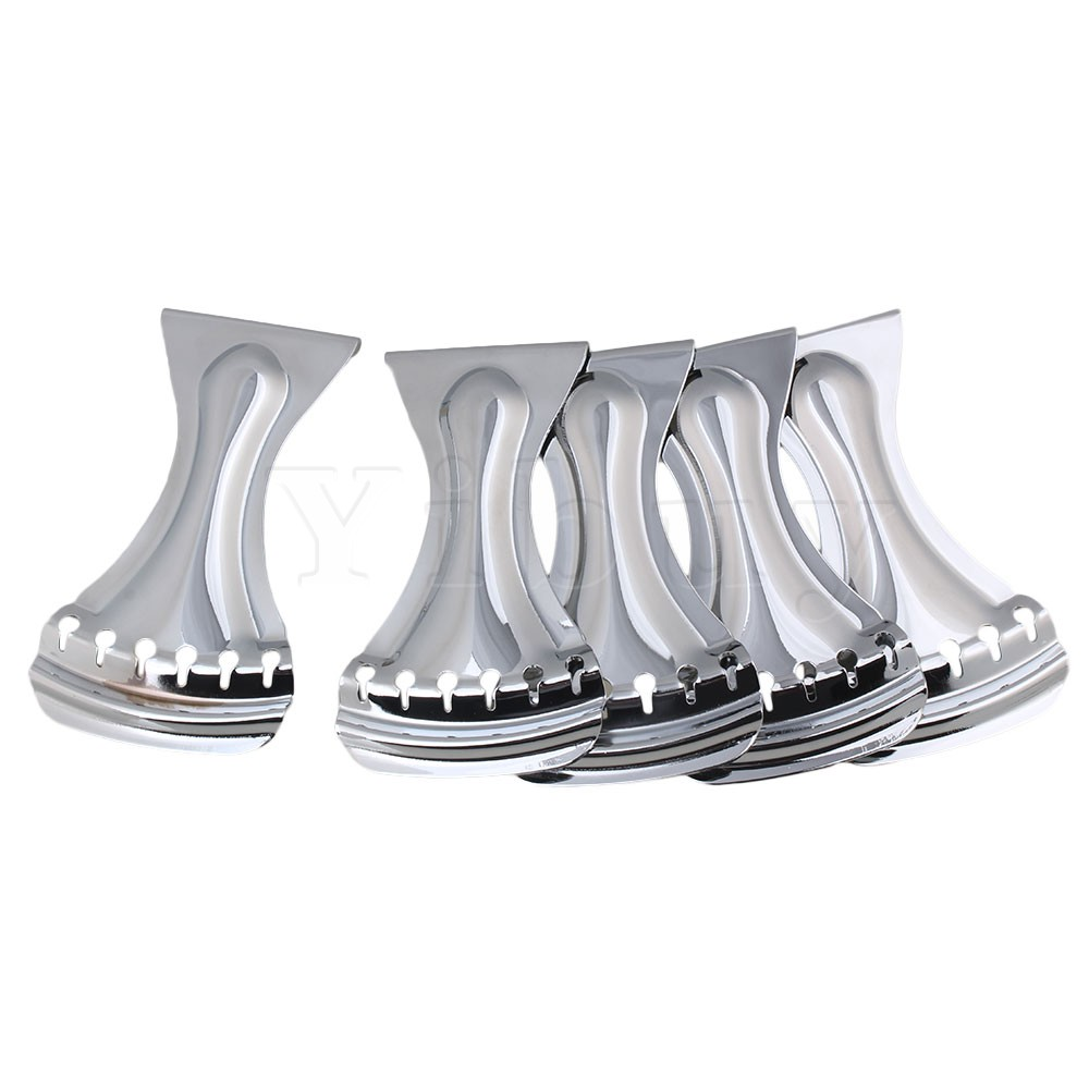 Yibuy 5x Dobro 6 String Tailpiece for Echo Guitar Repair Replacement Chrome yibuy 5 x zinc alloy 3 string electric cigar box guitar bridge tailpiece gold