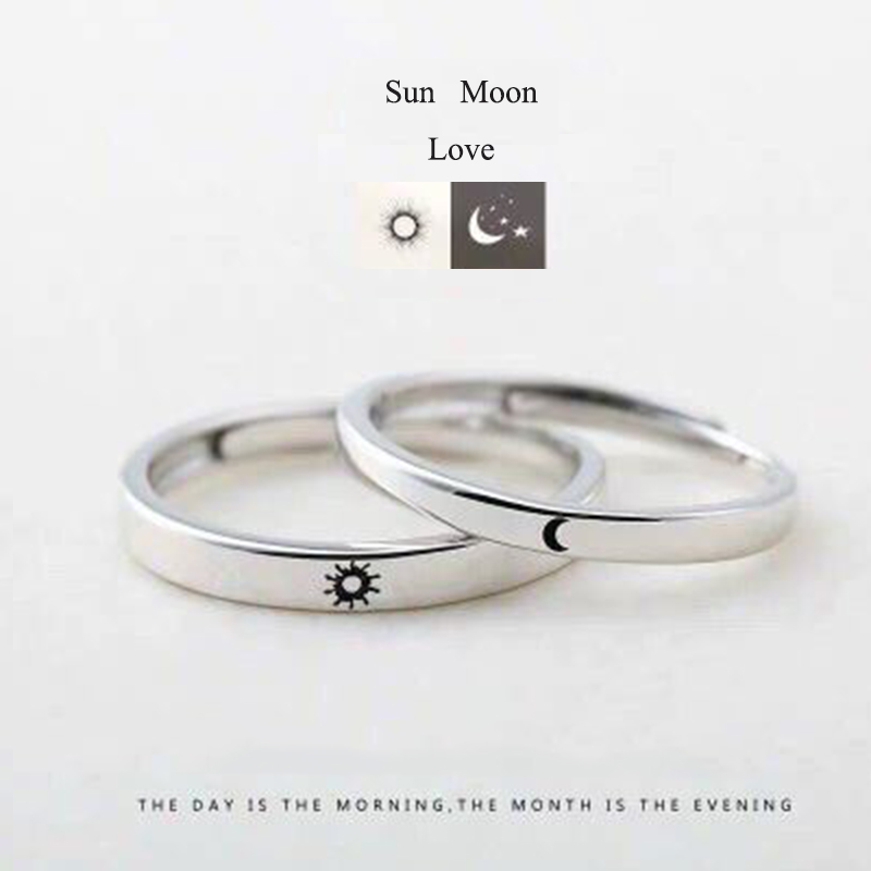 Qevila Fashion Silver color Ring Simple Style Moon Sun Love Adjustable Plate S925 Couple Rings For Girls Boy Best Friend Jewelry (8)