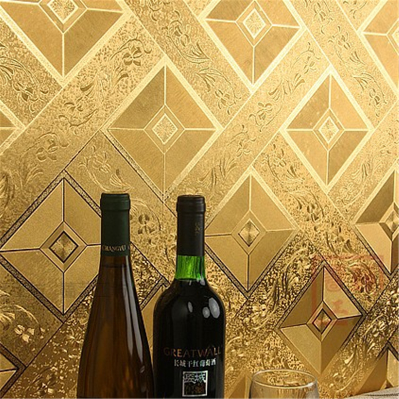 ФОТО beibehang Modern Classic Luxury wallpaper Roll Gold Foil Wall covering Glitter Geometry PVC Wall paper For Public House KTV Wall