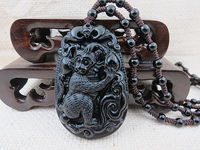 New Hand Carved Zodiac Monkey Black Obsidian Pendant Yoga Poses Symbol Good Luck 35