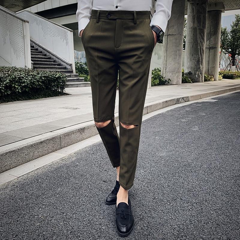 Agujero Bordado Diseno Casual Pantalones Hombres Vestido Delgado Pantorrilla Longitud Pantalones Hombres Moda Pantalones Coreanos Ropa De Marca Masculina Pantalones Ajustados Aliexpress