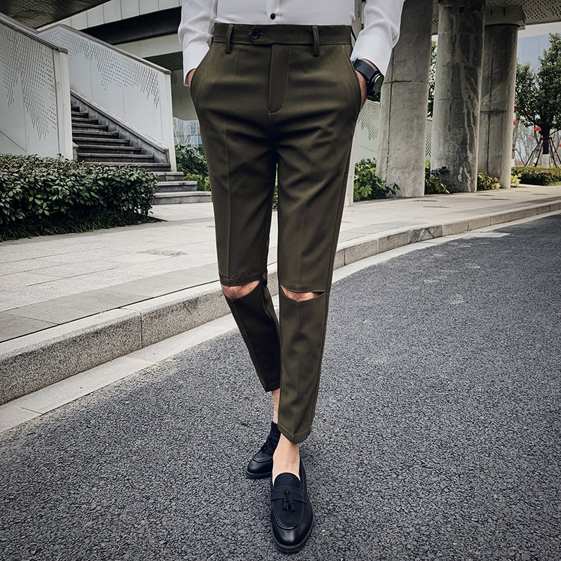 Gap embroidery design Informal Pants Males Gown slim Calf-Size Pants trousers Mens Trend Korean trousers Male Model Clothes Skinny Pants, Low cost Skinny Pants, Gap embroidery design Informal Pants...