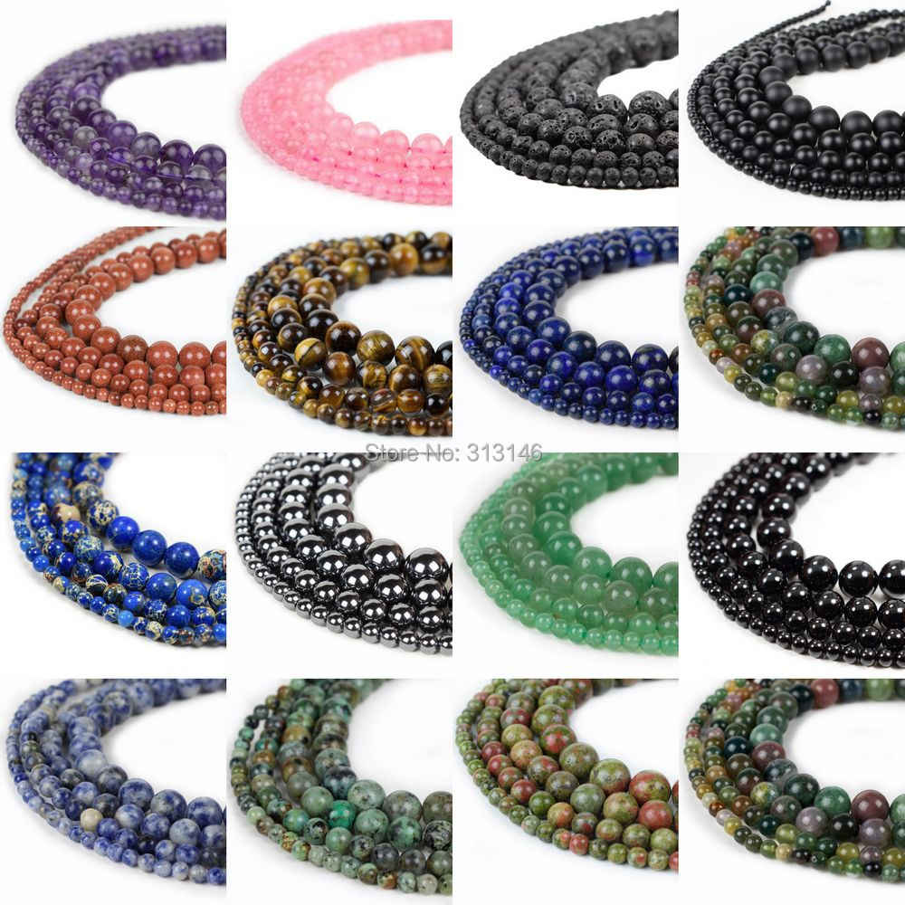 Natural Assorted Mixed Gem Round Loose Strand Stone Beads for DIY Necklace Bracelet Jewelry Making Pick Size 4 6 8 10 12 14mm
