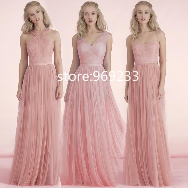 2015 rosa Pastel de tul largo vestido de dama de Honor con correas ...