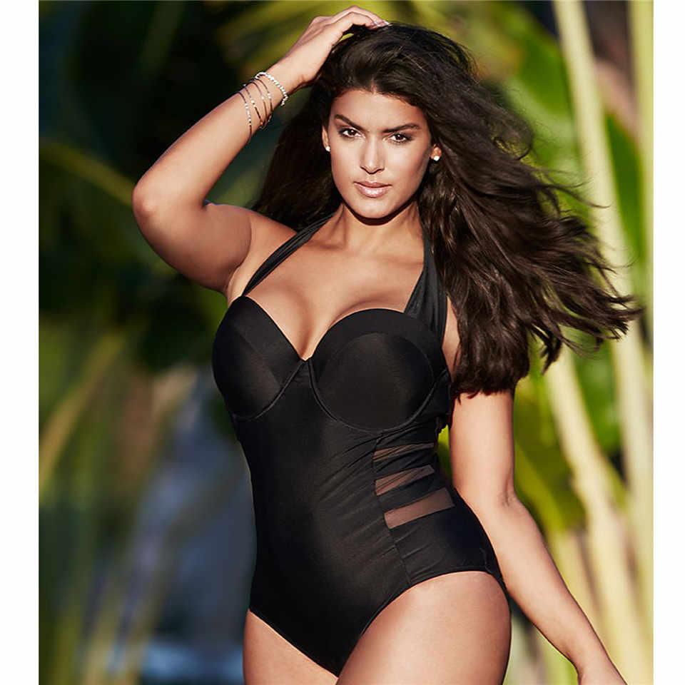 L 4XL Монокини купальник 2017 сетка крючком цельные купальники большого размера женские купальные костюмы черный купальник для женщин plavky