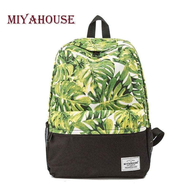 Miyahouse Fresh Style School Backpack For Teenager Girls Leaves Print Canvas Backpack Female Travel Leisure Laptop Rucksack miyahouse preppy style canvas school backpack for teenager girls cute unicorn printed school bag female travel bag
