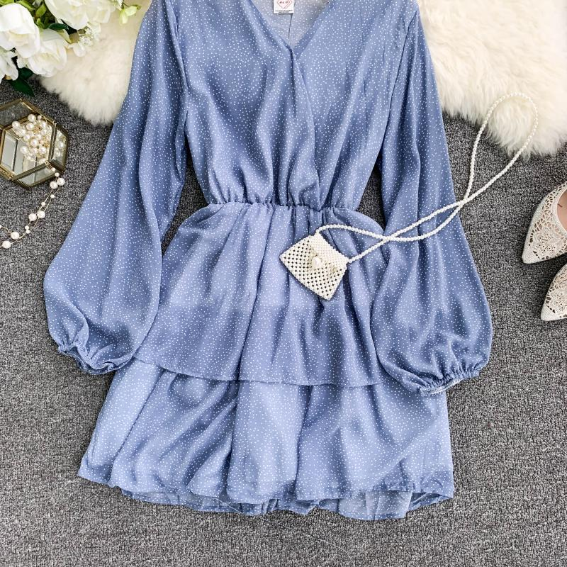 Korean Summer 2019 Sweet Women Dress Elegant V Neck Puff Sleeve Dot Print Dress Cascading Ruffle A Line Female Dress Vestido 50