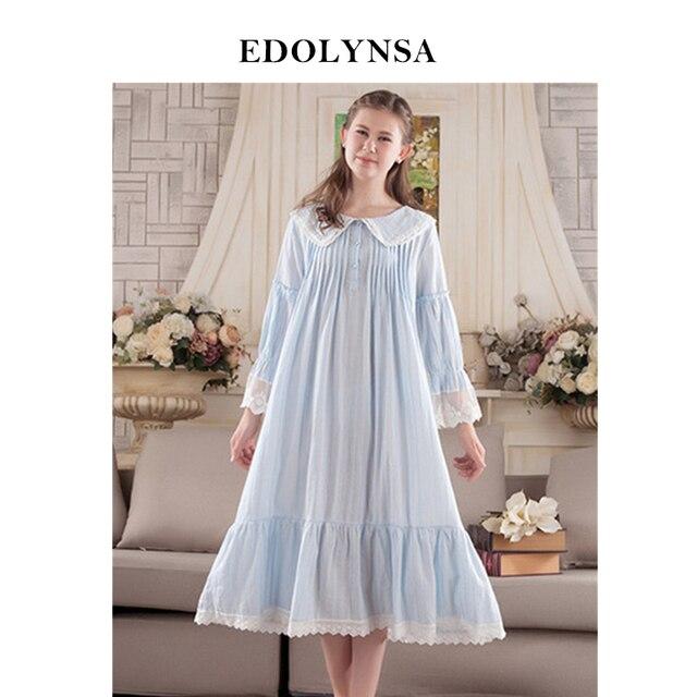 New Arrivals Vintage Nightgowns Sleepshirts Casa Elegante Vestido Lace  Pijamas Camisola de Algodão Mulheres Sono   b2aafc28a
