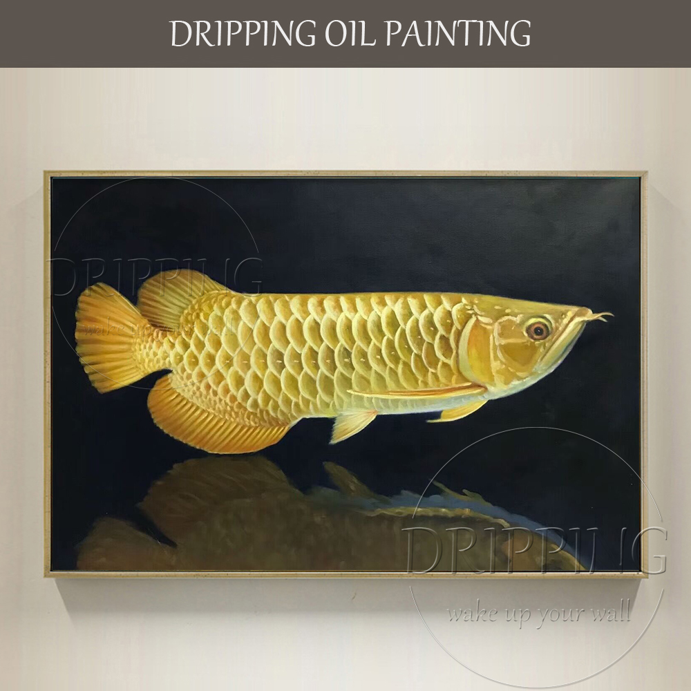 Artist Hand painted Rich Fish Gold Arowana Oil Painting Beautiful ...
