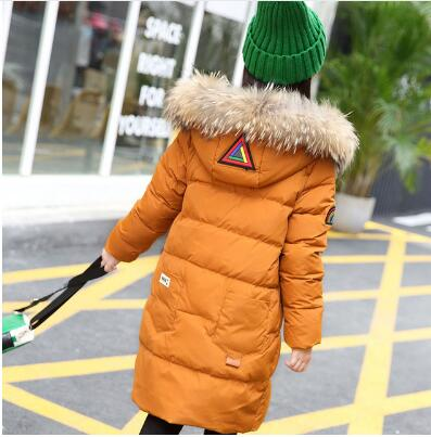 2018 New Fashion Children Girls Winter Coat Long Down Jacket for Girl Long Parkas Zipper Outerwear Kids Jackets 5-14 Old Child 2016 new men thick warm parkas outerwear fashion stand collar zipper casual down jacket male plaid patchwork winter coat a4583