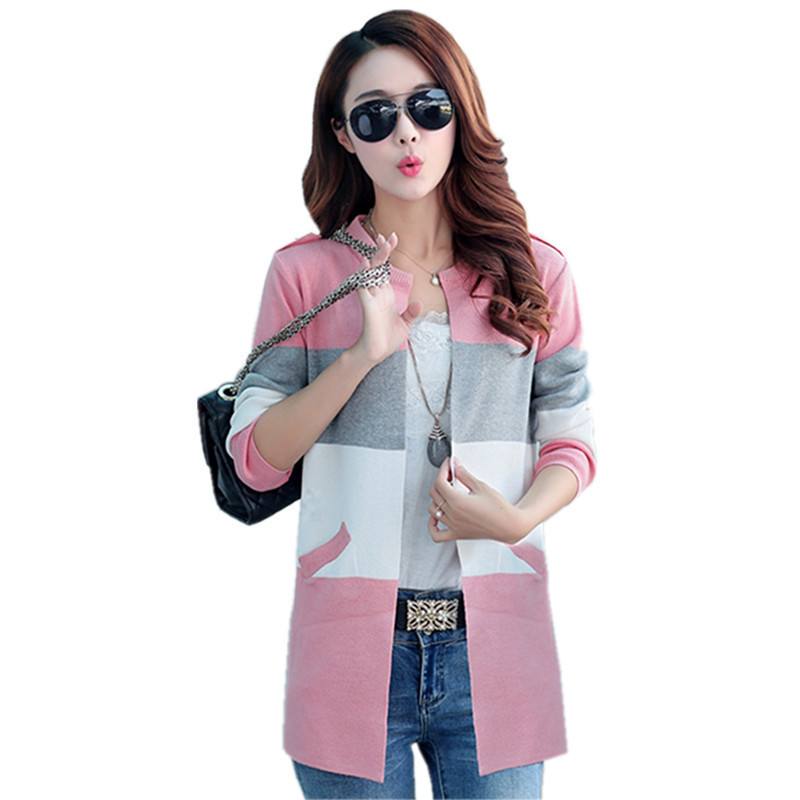 Fashion Spring Autumn Sweater Cardigan Women Long Plus Size Casual Loose Hit Color Knitted Sweaters Pocket Wool Knitwear AF60