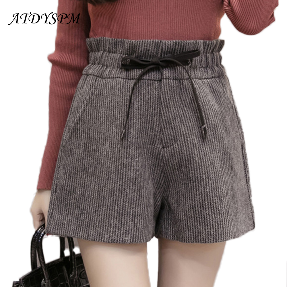 Women's Woolen Shorts 2019 Winter Thick Warm Shorts Elastic Waist Wide Leg Women Shorts Office School Casual Shorts