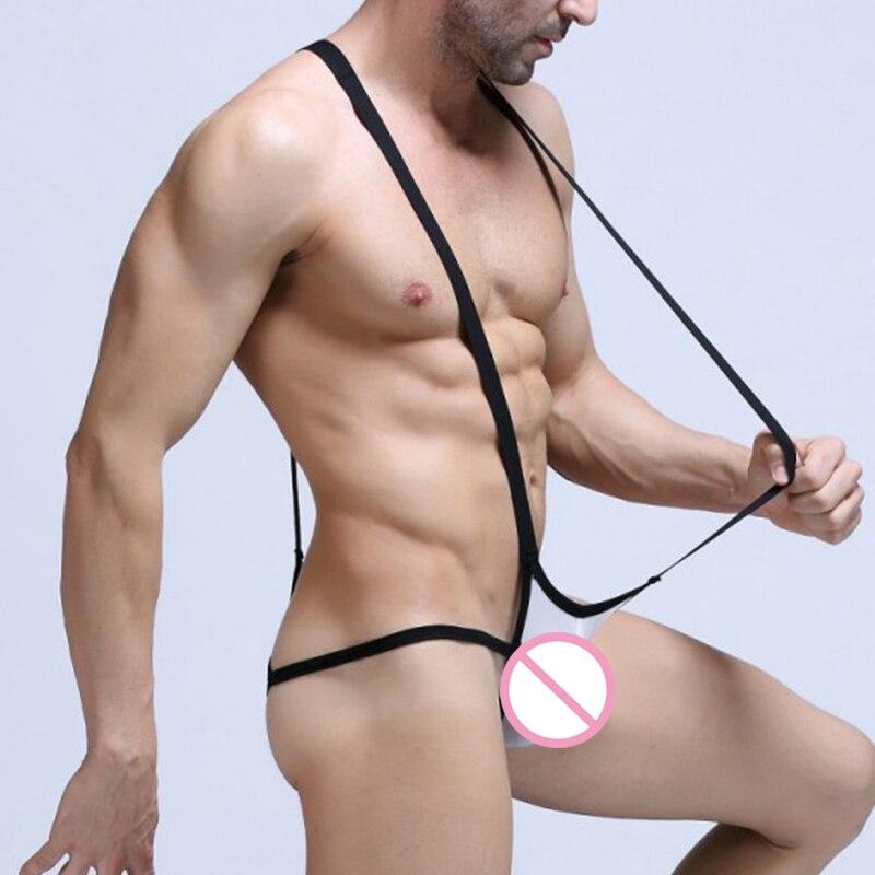 Sexy Men Bandage Mankini Thong Lingerie Mesh Underwear Stretch Elastic Jockstrap Bodysuit Leotard T-Back G-string Man Lingerie