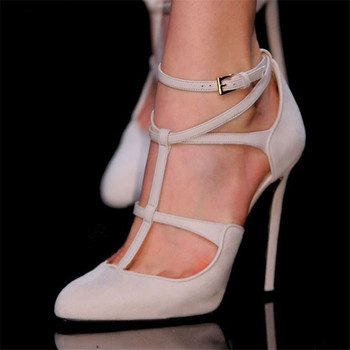 Fashion Nude Stiletto Heels Pointed Toe T Strap Pumps Design Yellow Spring Autumn Pumps Party Dress High Heels Shoes Women 2019