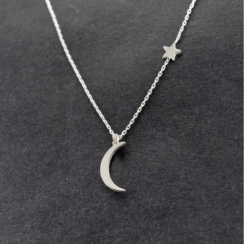 2019 Simple Star & Moon Pendant Necklace For Women New Bijoux Maxi Statement Necklaces Collier Jewelry drop shipping