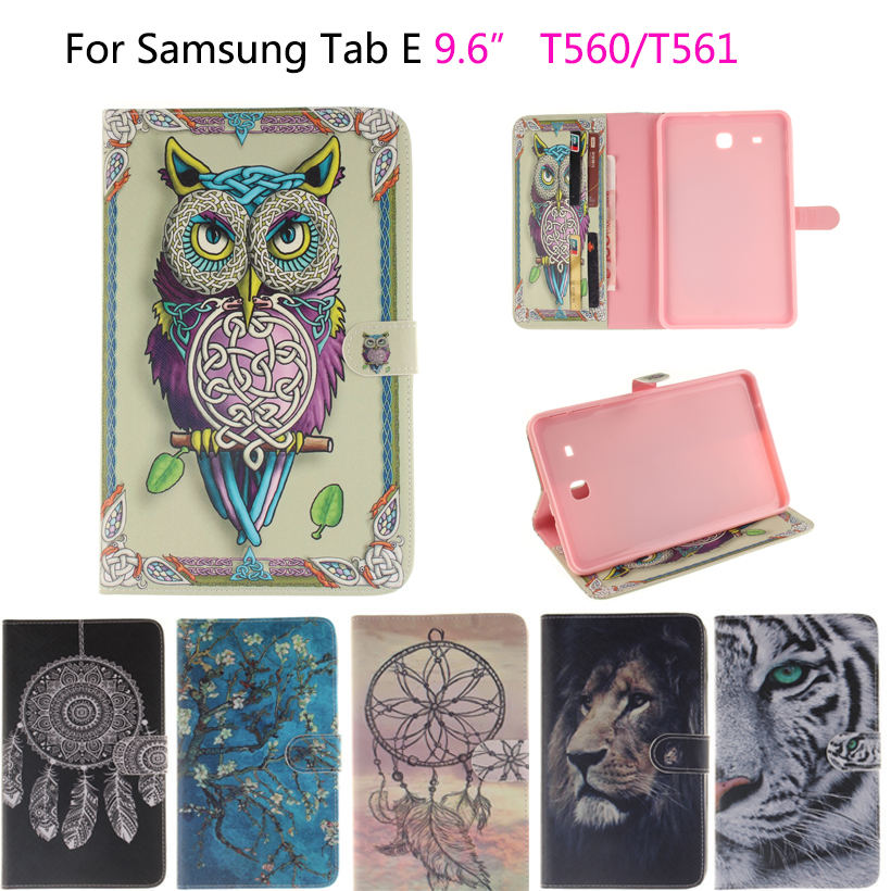 Lion Tiger Painted Flip Leather Funda sFor Samsung Galaxy Tab E 9.6 Case For Samsung Galaxy Tab E T560 SM-T560 T561 Smart Cover tiger owl girls painted flip silicone leather case for samsung galaxy tab 4 8 0 t330 t331 t335 case cover tablet funda shell