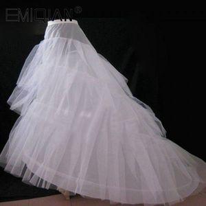 Image 1 - Cheap Wedding Petticoat Jupon Court Train Crinoline Slip Underskirt for A line Wedding Dress 3 Layers Wedding Accessoires