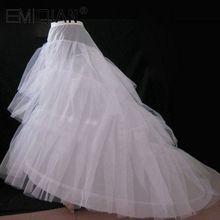 Ucuz düğün Petticoat Jupon mahkemesi tren kabarık etek kayma jüpon için A line düğün elbisesi 3 kat düğün aksesuarları