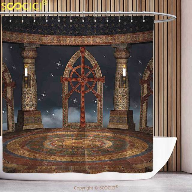 Funky Shower Curtain Medieval Decor Gothic Temple In The Sky Large Terrace Fantasy Architectural Image Brown And Dark Grey