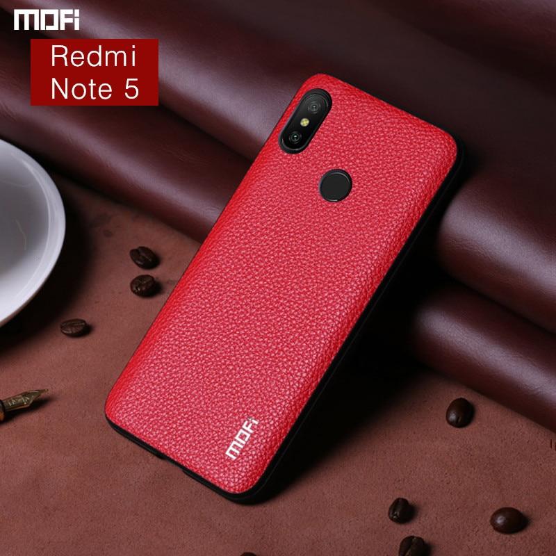 Redmi Note 5 Pro Cas Mofi Pour Xiaomi Redmi Note 5 Cas couverture Pu En Cuir de Grain De Couverture Arrière D'affaires Pour Xiaomi Redmi Note5 Cas