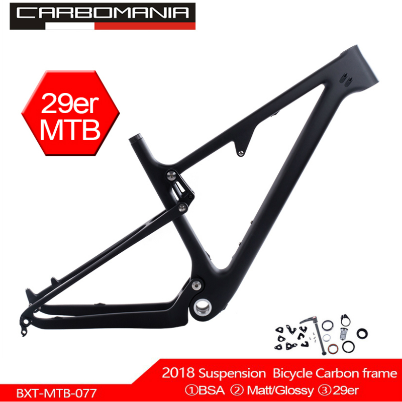 Full Carbon Suspension bike Frame 29er MTB Thru AXle 12mm Carbon Fiber Suspension BMX mountain bikes Downhill bicycle frame 2019