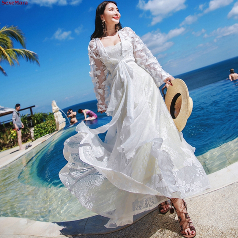 SexeMara fashion The New  Lace embroidery Bandages Three dimensional butterfly Two sets Holiday Beach dress women Free shipping-in Dresses from Women's Clothing    1