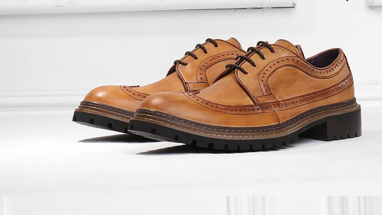 Lace Up Men s Dress Oxfords Male Smart Casual Genuine Leather Pointed Toes Carved Solid Chunky
