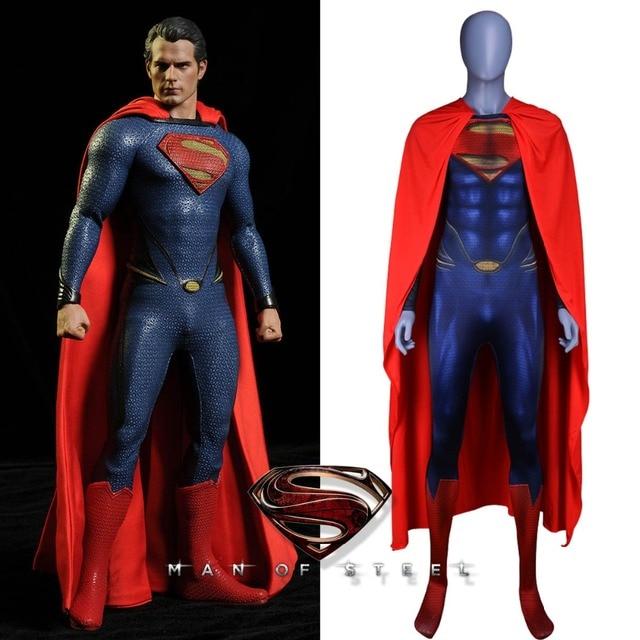 Nuevo traje de Superman hombre de acero Cosplay traje Deluxe 3D estampado  mono con capa roja 34cfb45dcc5bb