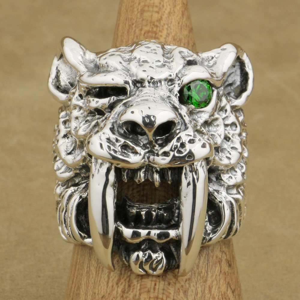 LINSION 925 Sterling Silver Greem CZ Eye Sabretooth Ring Mens Biker Rock Punk Tiger Ring TA18