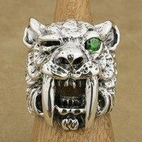Linsion 925 серебро Greem CZ глаз саблезуб кольцо мужские Байкер в стиле панк рок Тигр кольцо ta18 нам Размеры 7 ~ 15