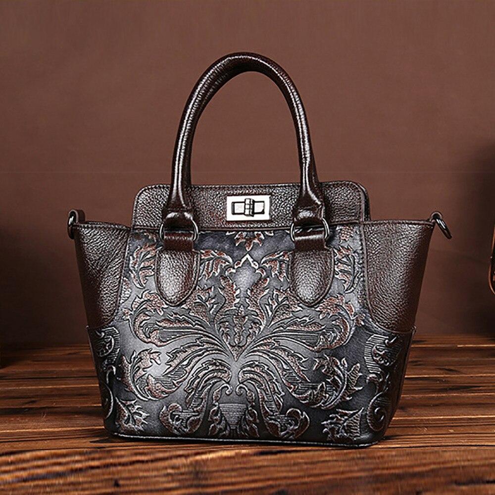 Vintage Designer Women Genuine Embossed Leather Handbag Tote Famous Brand Casual Messenger Bags Ladies Cross Body
