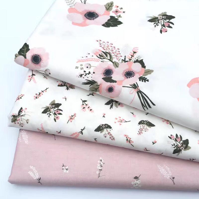 100% cotton pink Wheat flower twill fabric DIY for crib bedding cushion apparel handwork patchwork quilting home decor dress