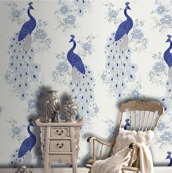 Bacaz Non-woven Paper Chinese style Blue Peacock Wallpaper rolls for walls Background 3d Wall paper Roll wall coveringBacaz Non-woven Paper Chinese style Blue Peacock Wallpaper rolls for walls Background 3d Wall paper Roll wall covering