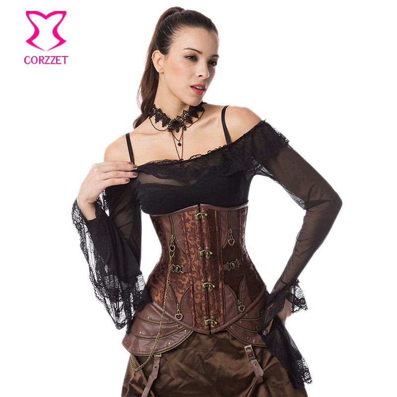 69b2074b8 Brown Steel Boned Corset Underbust Gothic Steampunk Clothing Women Plus Size  6XL 5XL Sexy Corsets And Bustiers Hot Waist Trainer