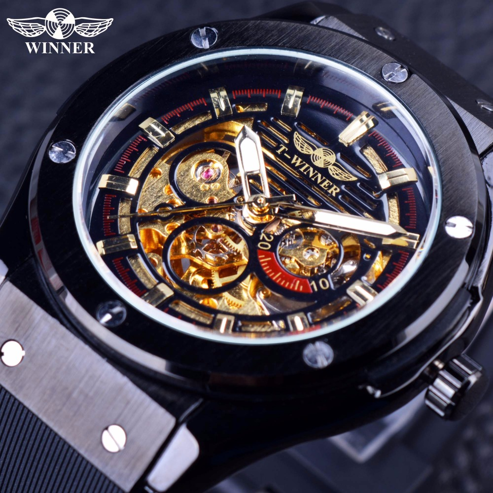 Winner 2016 Luxury Sport Design Matte Scrub Golden Dial Inside Men Watches Top Brand Luxury Automatic Male Wrist Watch Clock Men ultra luxury 2 3 5 modes german motor watch winder white color wooden black pu leater inside automatic watch winder