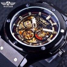 Ganador 2016 Sport Luxury Diseño Mate Matorrales Oro Dial Dentro los hombres Relojes de Primeras Marcas de Lujo Masculino Automático Reloj de pulsera de Reloj hombres