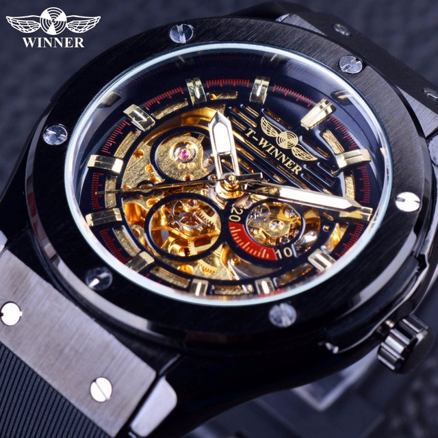 b32e9a087fb Winner 2016 Luxury Sport Design Matte Scrub Golden Dial Inside Men Watches  Top Brand Luxury Automatic