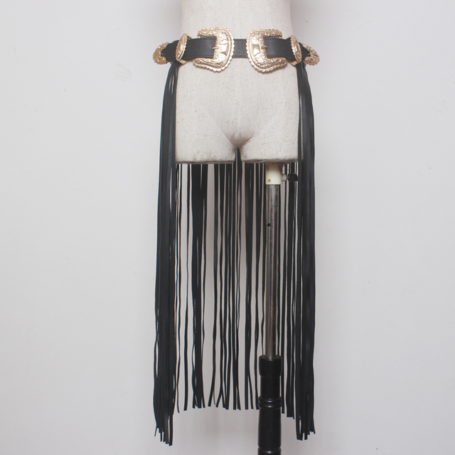 [XITAO] Европейский стиль моды старинные Резные металлические двойные пряжки с длинными кисточкой все матч женского пояса AEB-001