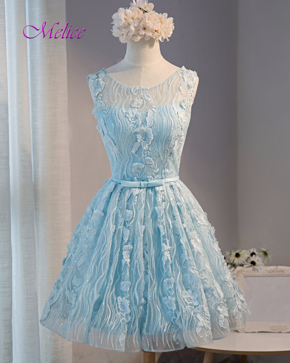 Online Shop Melice Charming Backless Lace Sleeveless Blue Homecoming ...