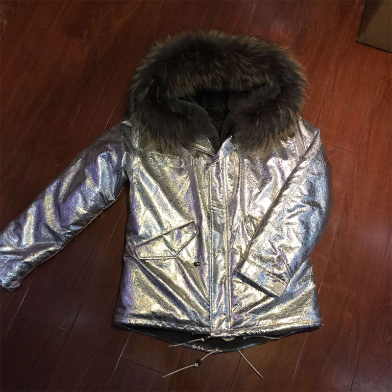 Sliver leather jacket grey fur lining short women coat Factory OEM item