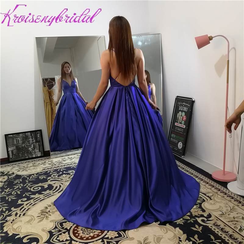 HSQ008 Sexy Open Back Luxury Satin Ball Gown Evening Dresses Royal Blue  Spaghetti Straps Evening Gowns 7561c897e56a