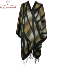 Women Blends Shawl Colourful Tartan Cashmere Cape For Female Blanket Scarf With Tassel hem Big Warm Plaid Wraps Poncho