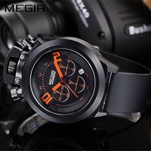 Image 5 - Часы MEGIR мужские наручные в стиле милитари, Оригинальные спортивные аналоговые, с хронографом и датой, с силиконовым ремешком, 2004