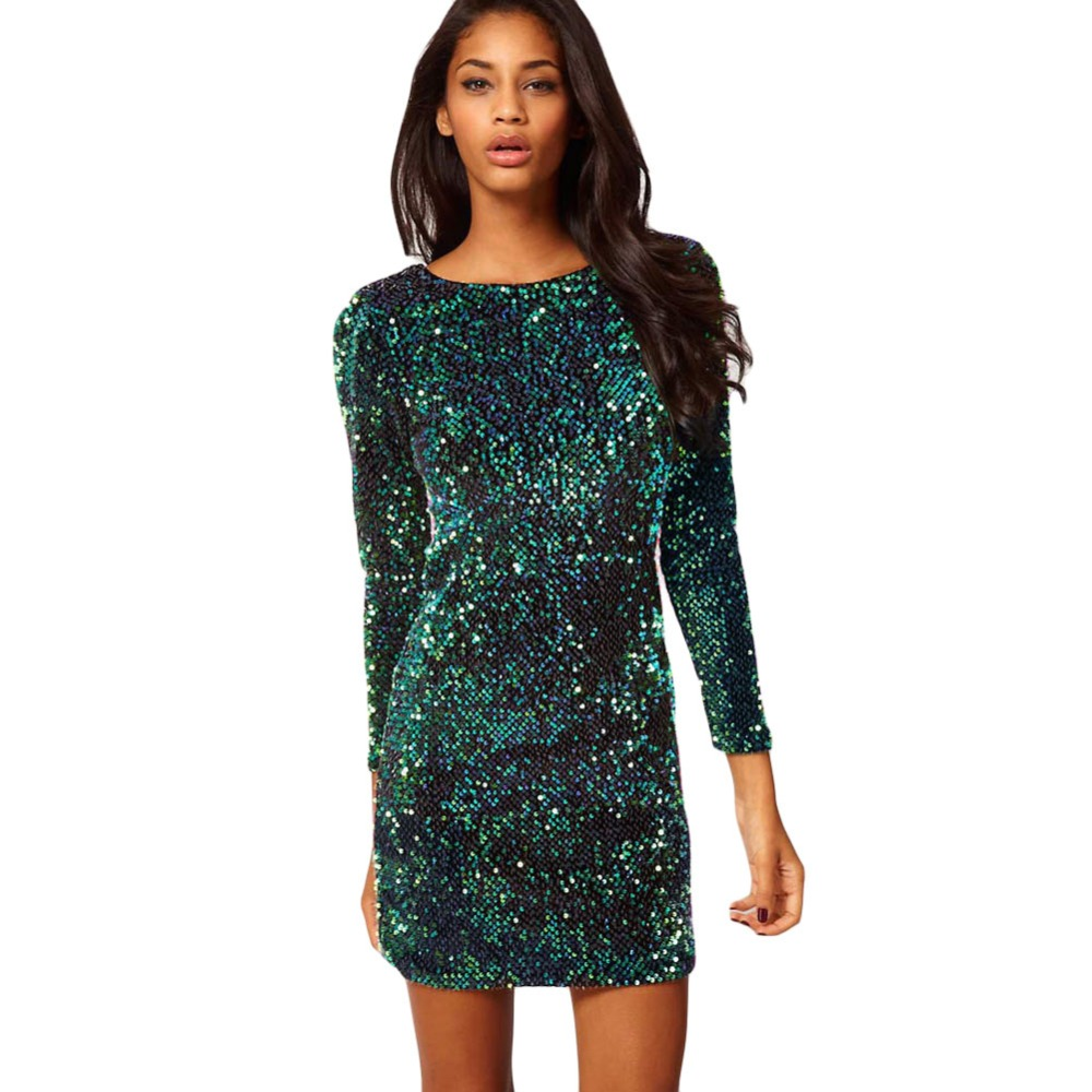 Green Sequin Dress Women Sexy Club Dresses 2019 Slim