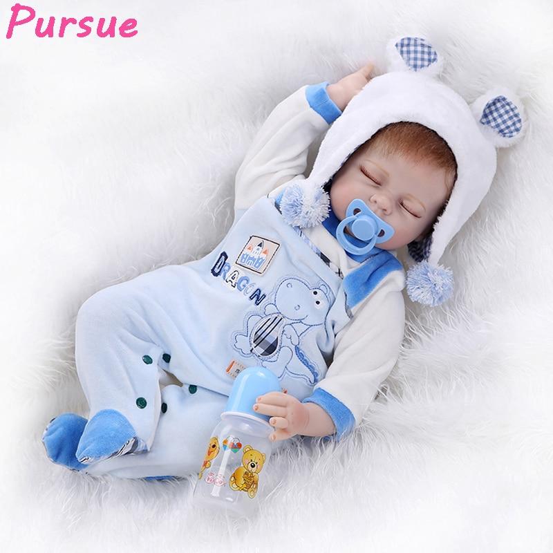 Pursue 22 inch Sleeping Reborn Babies Silicone Baby Reborn Toddler Dolls for Children bebe reborn menina de silicone menina 55cm el viaje de mina