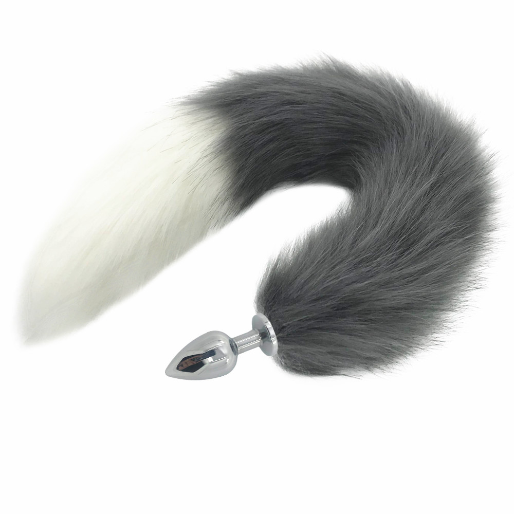 White Fox Tail Large Butt Plug ,Silicone Anal Plug Animal Tail Masturbation Devices,Cosplay Accessories,Crawls Paws ,Role Play